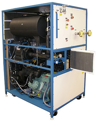 CryoDax 30 Custom Chiller System used for Thermal Vacuum Chamber / Space Simulator Chiller application -70°C to +150°C available temperature range, 35 KW of cooling at -23°C, 18 KW at -40°C, 8KW at -50°C, 2.5 KW at -70°C