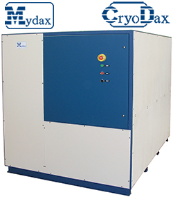 Outdoor rated CryoDax 60H2 low temperature chiller system for automotive fuel cell electric vehicle hydrogen refueling precooler applications