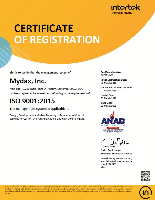 Mydax ISO 9001-2015 Mar 2 2018